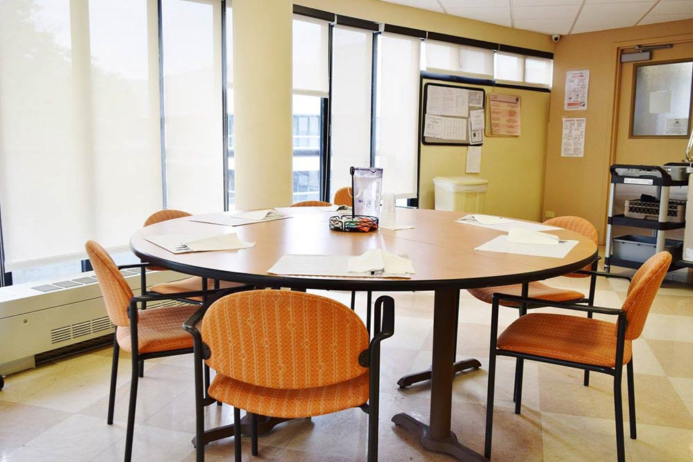 Dining table and chairs available on each floor of Morningside facility.